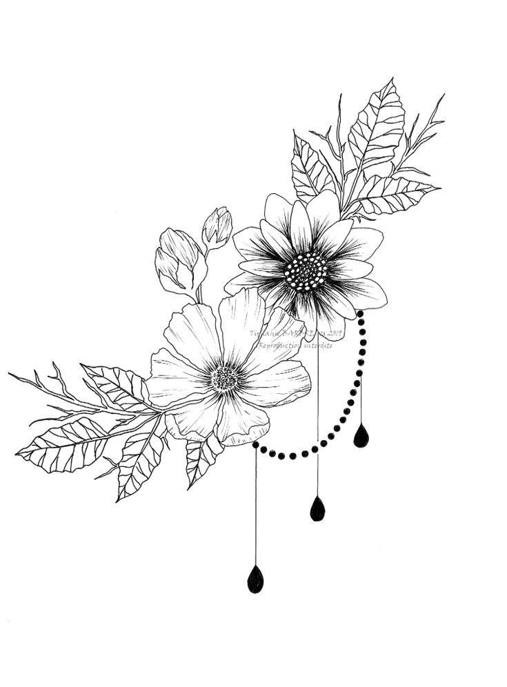 Dibujo De Tatuaje De Flores Tiphanie B Tattos Tatuajes Florales Flores Para Dibujar Tatuajes Intimos