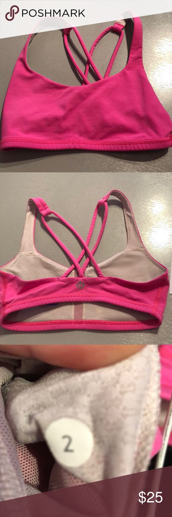 Lululemon 2 pink sports bra Lululemon 2 pink sports bra. This bra has a racerback cut. The straps have two thin layers on each side. The outside of the bra is hot pink, while the inside is a cream color. Gently used, good condition. Consigned to my boutique, no trades lululemon athletica Intimates & Sleepwear Bras