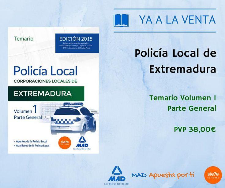#yaalaventa #nuevolibro #policíalocal Extremadura,Volumen 1,Parte General.Ficha de producto http://www.mad.es/POLICIA-LOCAL-DE-EXTREMADURA-TEMARIO-VOLUMEN-1-PARTE-GENERAL-isbn-9788490934593.html…