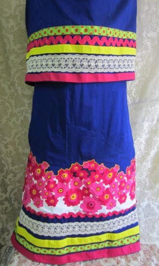 Peacock blue cotton silk rida designed with vibrant colored panels at the base with lace and contrast color floral applique panel. http://feisa.weebly.com/ridas.html