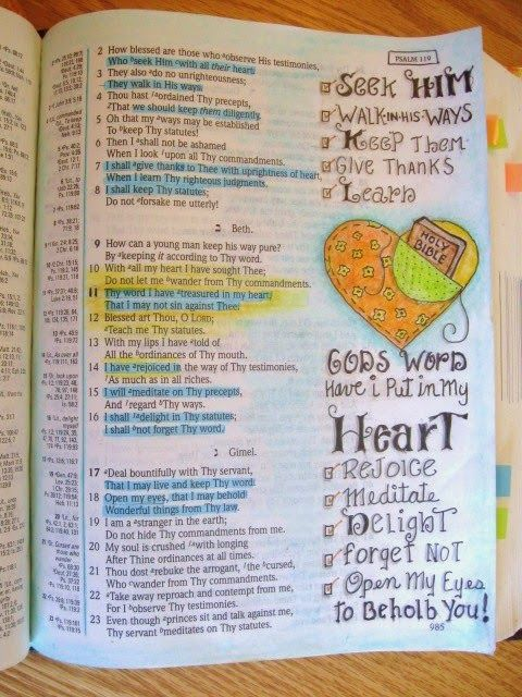 A Palette Full of Blessings.......Key words in Psalms 119:1-23 . Used colored pencils and Micron pen.