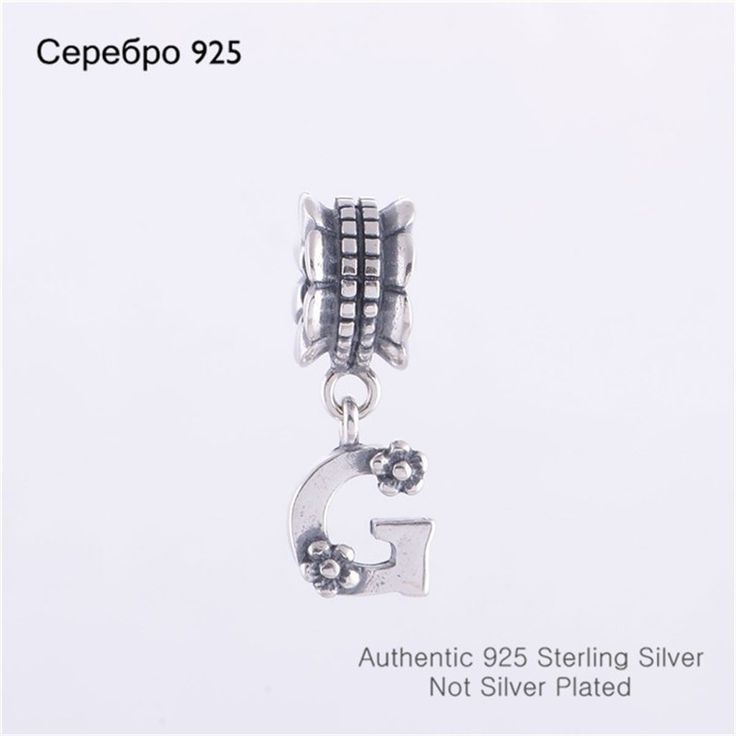 Wholesale 925 Sterling Silver Letter G Slide Dangle Charm Beads Jewelry Promotion Compatible With Pandora Style Charm Bracelets