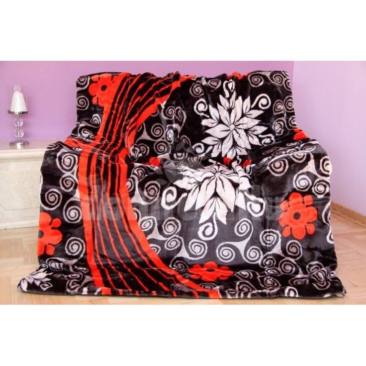 Luxusná deka z akrylu čierna s kvetinovým motívom