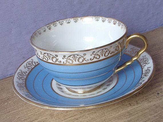 Vintage 1950's Blue tea cup and saucer Royal by ShoponSherman