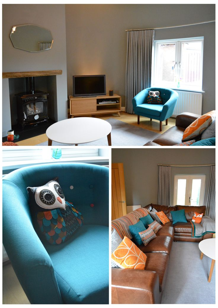Fun and bright teal, grey & orange scheme for a living room in Kent.