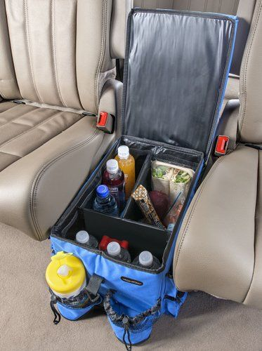 Great idea for road trips with kids!  This is the High Road Kids Food 'n Fun Car Seat Organizer -- includes a Cooler and Snack Tray & fits between the van seats. {affiliate}