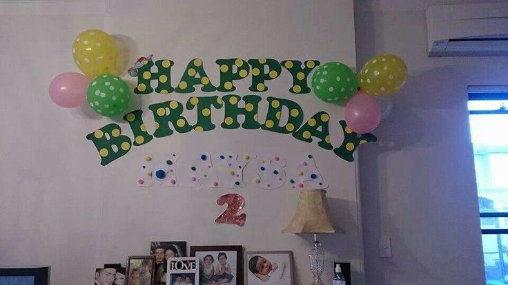 I made Mayoosa a happy second birthday sign - dorothy the dinosaur theme - beautiful day