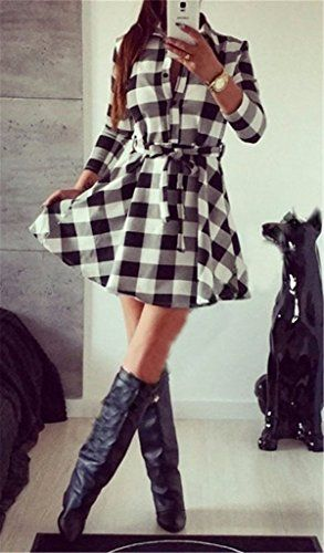 More Than Trade Women's Retro White and Black Plaid Long-sleeved Shirt Dress Black at Amazon Women's Clothing store: