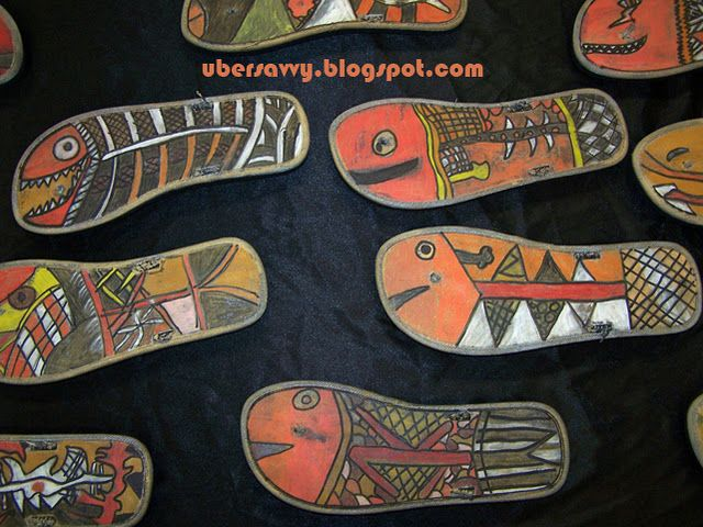 Aboriginal art idea - use flip flops as base (We will trace on paper and cut out)