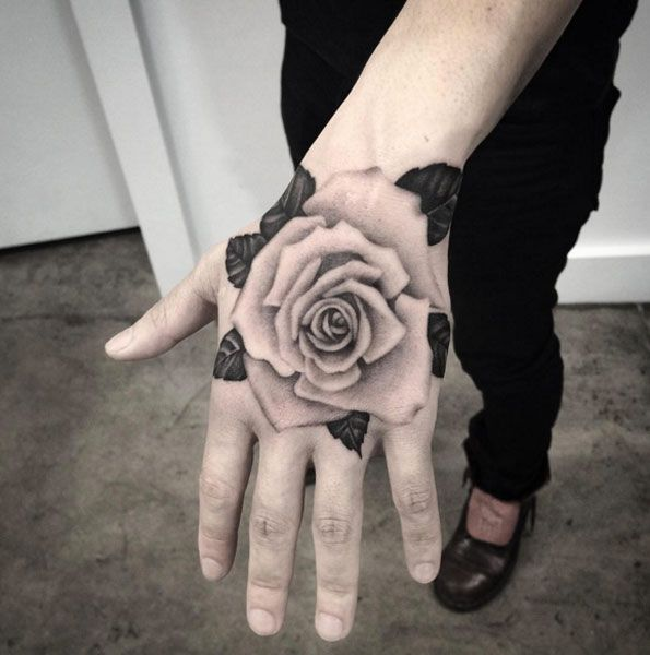 Rose Tattoo on Hand by Liz