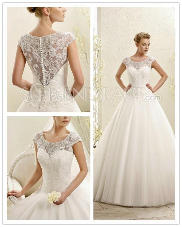 Klassisch Brautkleider Elegant Spitze Hochzeitskleid A Linie [#UD9145] - schoenebraut.com