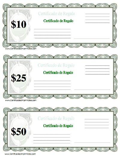 Certificado de Regalo para imprimir los certificados, gratis para descargar e imprimir
