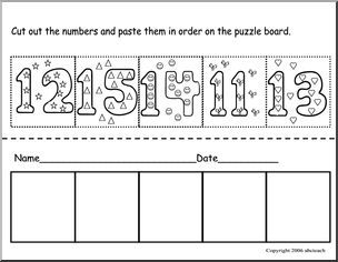 Cut and Paste:  Numbers 11-15 - Color, cut and paste the numbers in order on the puzzle board: