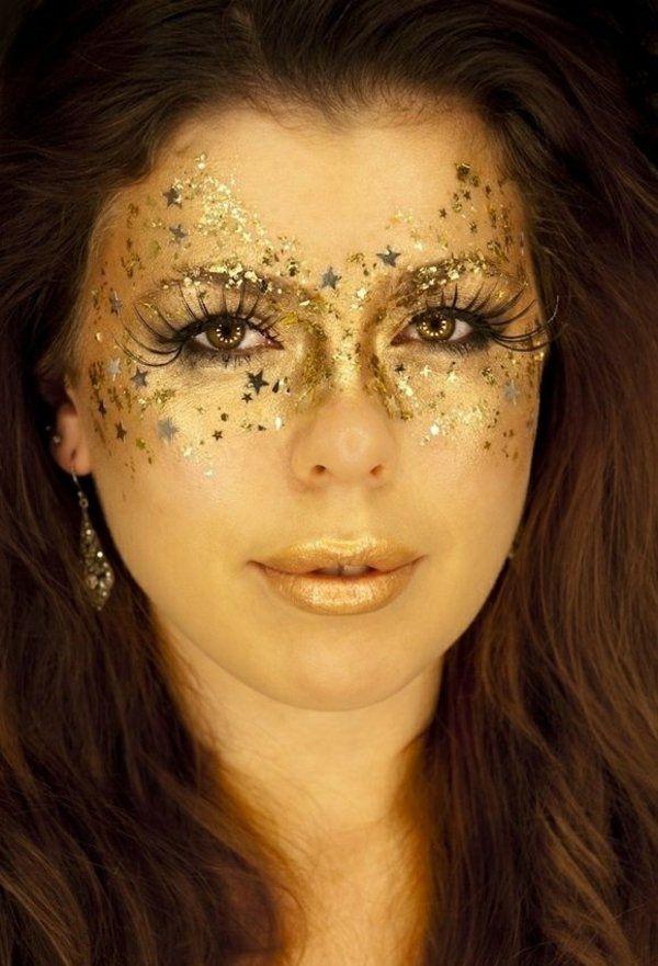 attraktive halloween schminken ideen gold