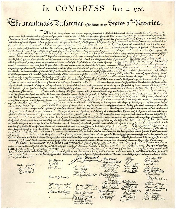 Declaration of Independence from a stone engraving