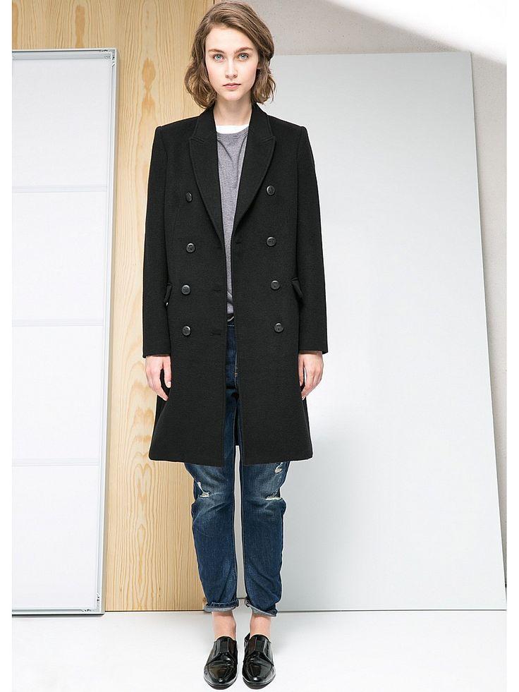 Пальто Mango. Цвет черный.