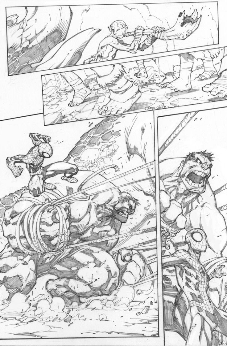 avenging spider-man #2, page 9 - joe madureira pencils / love comparing the pencils to the final