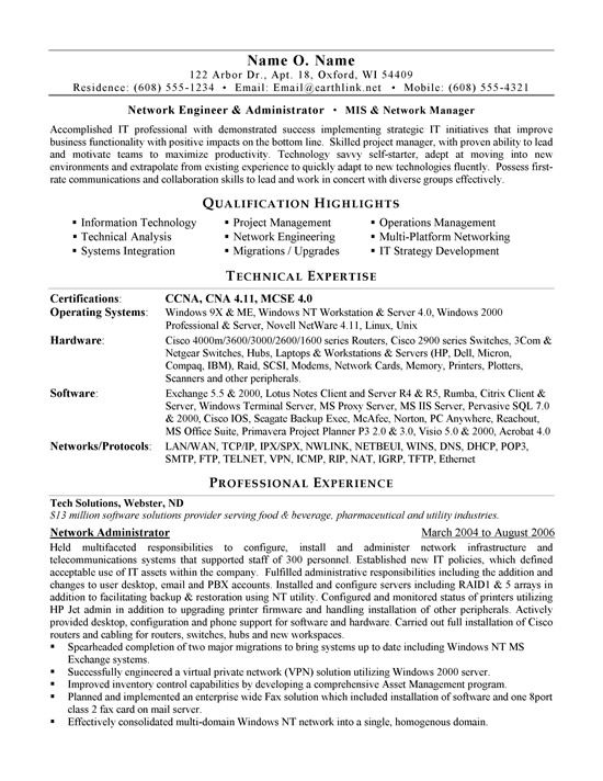 entry level network administrator resume templates