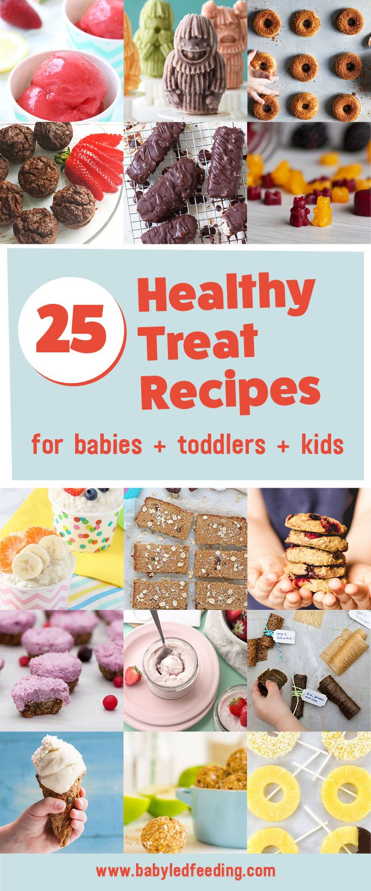 Healthy low sugar treats for babies, toddlers & kids. These healthy treat recipes for children will get them eating better in no time.Perfect from 6 months.