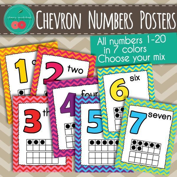 Chevron Numbers Posters Great for your chevron classroom decor.  Bright colors 1-20 numbers posters to brighten up your room. Part of a coordinating set. #chevron #numbers #classroomdecor
