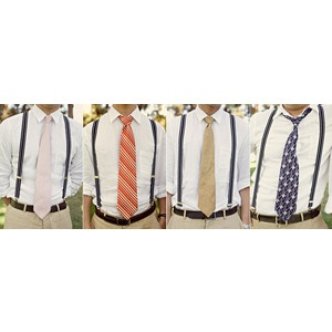 I like the khakis and white shirts with rolled up sleeves plus suspenders and maybe a patterned tie with hints of red