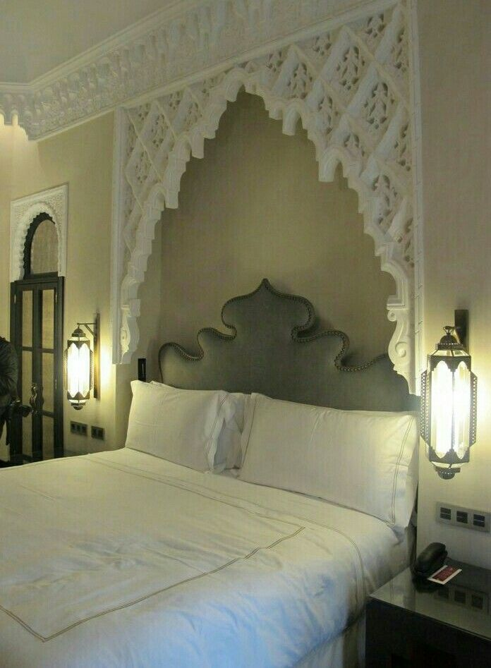 Headboard mouldings lamps oriental inspired islamic indian art colours design Moroccan decor ideas for the bedroom