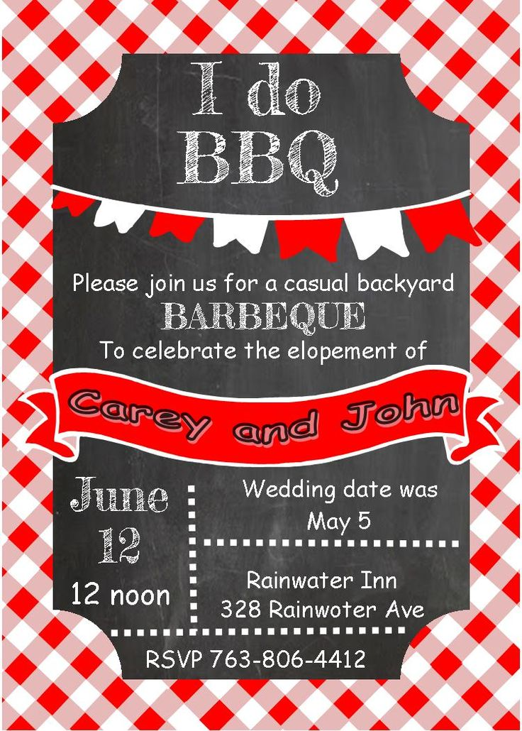 73 best eloping party invitations (invite friends to an informal - bbq invitation template