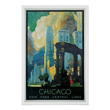 Vintage Travel Chicago New York Central Lines America Travel Posters.