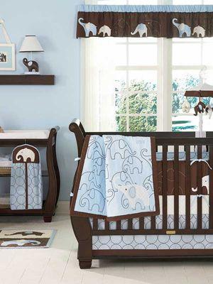 Blue Elephant 4 Piece Baby Crib Bedding Set cute for a boy's