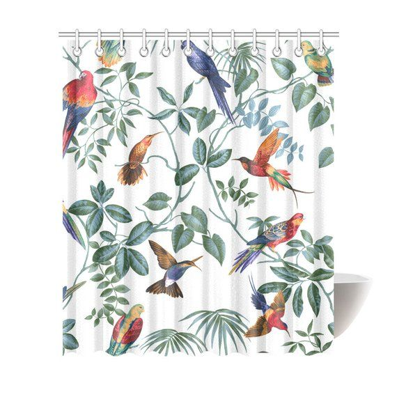 Aviary Birds Shower Curtain 6 Sizes To Choose From Includes Hooks Machine Washable Bold Sublimation Ink Print Bathroom Decor Bird Shower Curtain Curtains Bathroom Decor Pictures