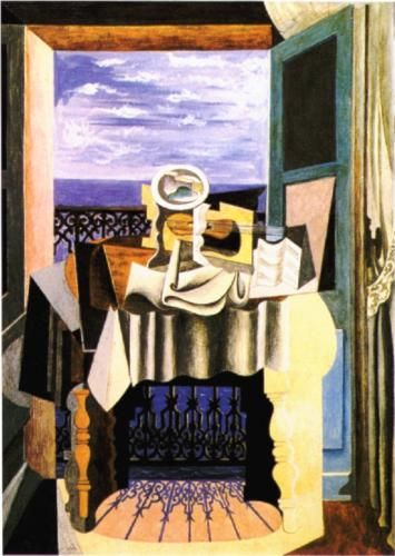 Still life in front of a window at Saint-Raphael by Pablo Picasso, 1919, Cubist Period, Gallery:  Heinz Berggruen Collection, Geneva, Switzerland