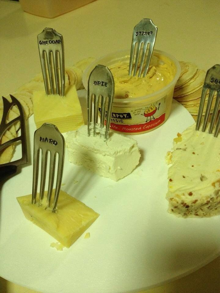 Set of five cheese fork markers. Standard set includes Cheddar, Brie, Soft, Hard & Stinky. Or customise your own! $30 set