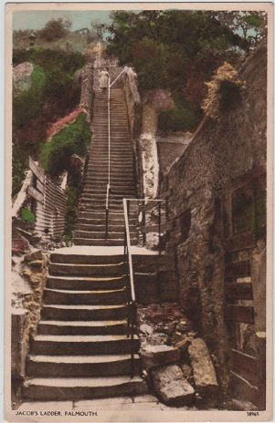 Falmouth, Jacob's Ladder, Cornwall, England postcard