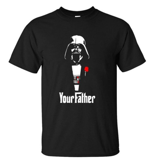 """Darth Vader Your Father Godfather T-Shirt Star Wars merchandise http://funstarwars.com/shop/star-wars-t-shirts/darth-vader-your-father-godfather-t-shirt/ 16.40 This Star Wars T-shirt features the Darth Vader quote """"Your Father"""" on a black shirt. The perfect gift for the #1 sith lord in your life."""