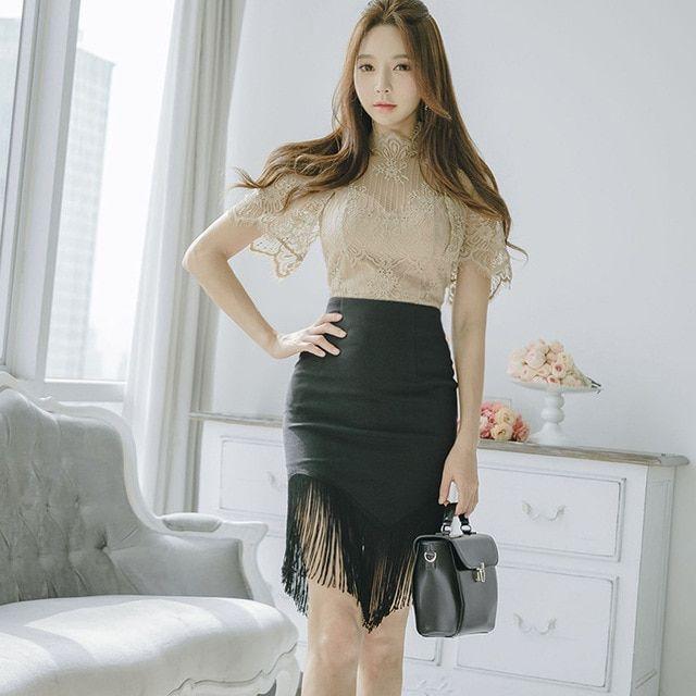 1e9ad8536ea4c Women Two Piece Sets Slim Lace Top Package Hip Tassel Skirts Elegant ...