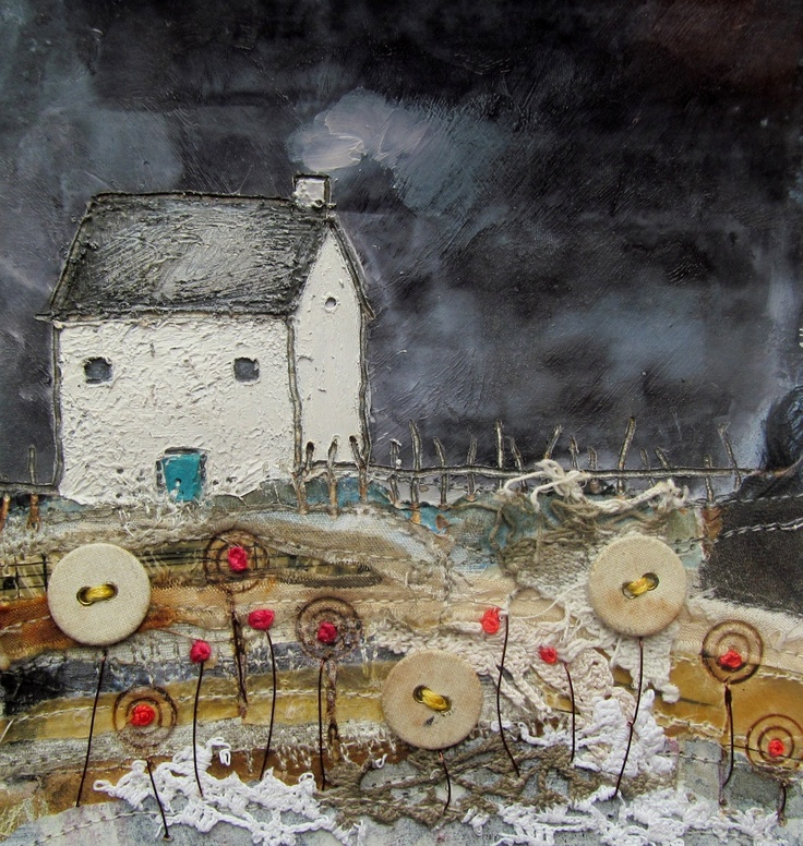 'The cottage in the Lakes with the blue door' by Louise O'Hara of DrawntoStitch www.drawntostitch.com