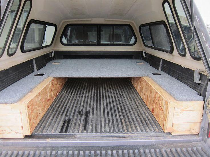 Truck bed sleeping platform travel vehicles pinterest truck bed trucks and platform - Homemade truck bed storage ...