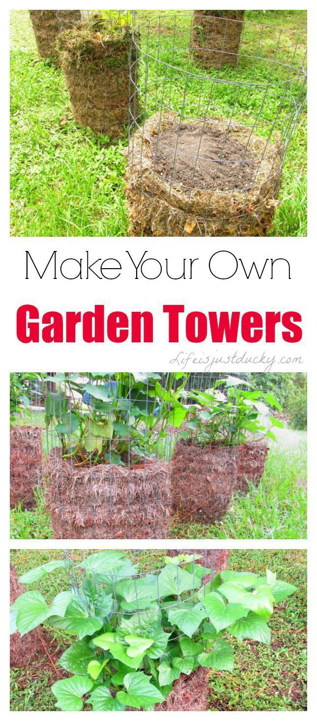DIY Garden Tower - How and why to make your own garden towers - These solve many gardening challenges. Grow your vegetables in a raised tower. You control the soil. Very easy design even for beginning gardeners.