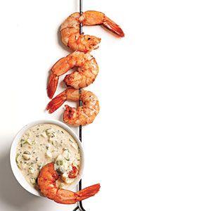Cajun shrimp skewers with Remoulade.  So crazy good.