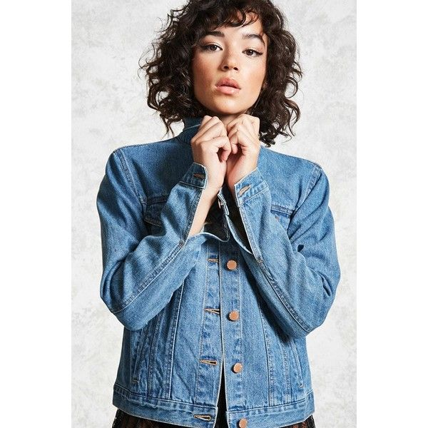 Forever21 Button-Up Denim Jacket ($20) ❤ liked on Polyvore featuring outerwear, jackets, dark denim, blue cotton jacket, long sleeve jacket, blue denim jacket, long sleeve jean jacket and denim jackets