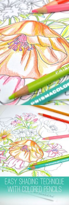 Create beautiful shading on your coloring pages by using two different colors…
