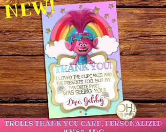 Trolls gracias tarjeta personalizada trolls gracias tarjeta de cumpleaños de la invitación, amapola, trolls, fiesta de cumpleaños, amapola, trolls, trolls para imprimir
