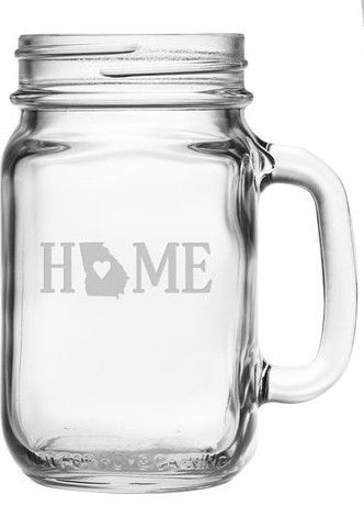 Show off your state pride with our Home State mason jars with handles.