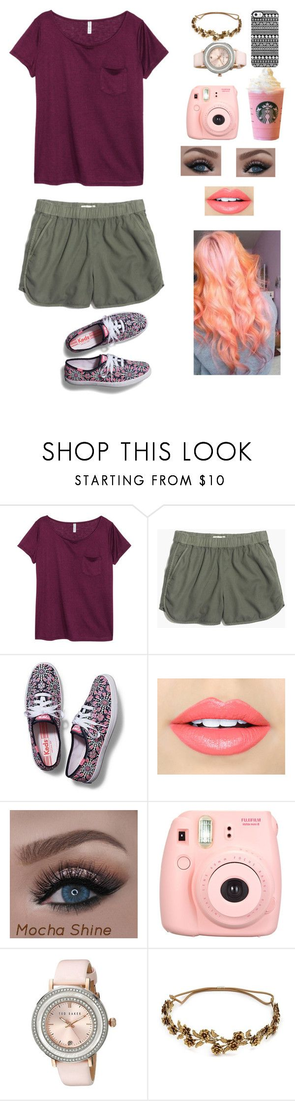 """""""Untitled #52"""" by jenna-carr ❤ liked on Polyvore featuring H&M, Madewell, Keds, Fiebiger, Polaroid, Ted Baker, Jennifer Behr and Uncommon"""