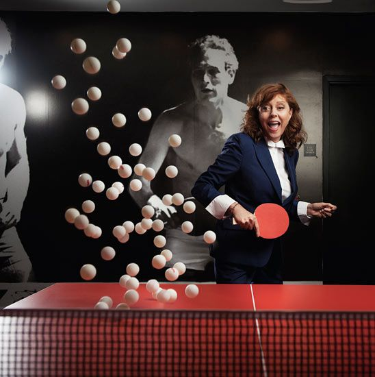 Susan Sarandon playing ping pong at the club she helped set up in LA's Standard hotel. Photograph: Steve Schofield for the Observer