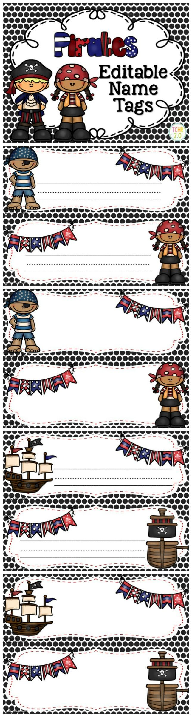 This is a set of editable desk plates with a pirate theme. Just insert a text box and type your kids' names or print and handwrite your students' names. Great for back to school!