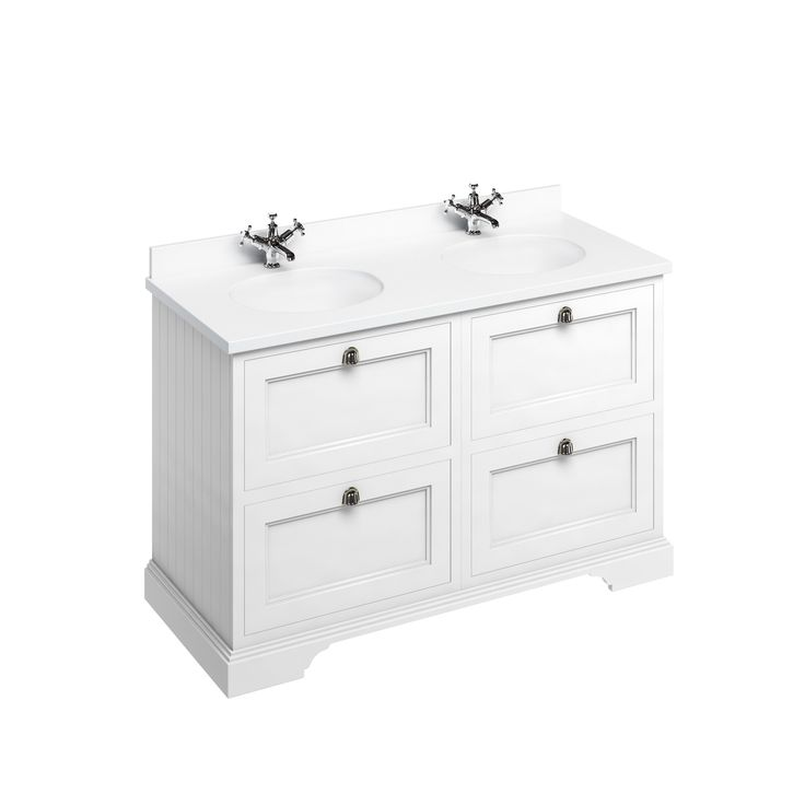 Freestanding 130 Vanity Unit with drawers - Matt White and Minerva white worktop with two integrated white basins
