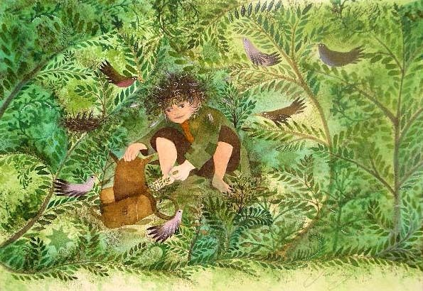 It looks like a hobbit with his baggin! Illustration by Jane  Ray