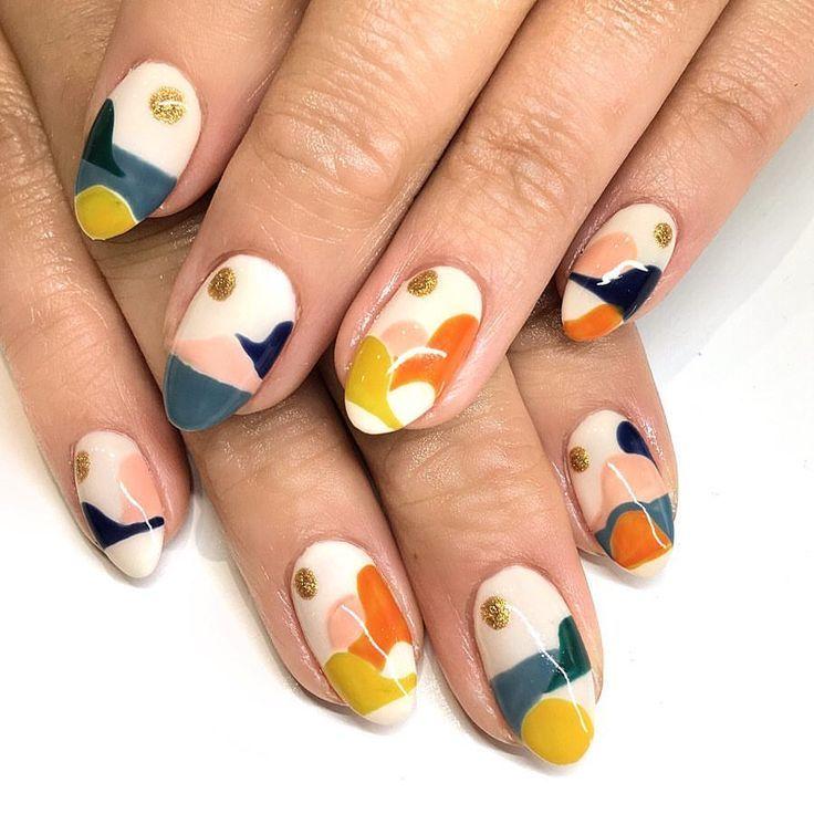 Modern art inspired nail design! Do you need some amazing spring nail art inspir…