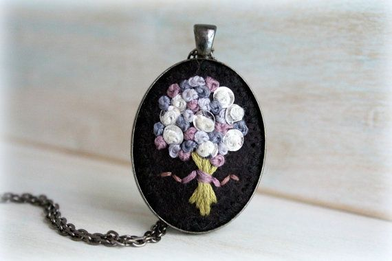 Embroidered Jewelry. Felt Pendant. Pendant Necklace. Lavender Bouquet. Cute Necklace. Flower Necklace.